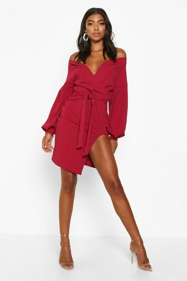 Berry Tall Off The Shoulder Thigh Split Dress