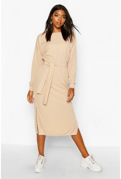 Womens Camel Tall Rib Belted T-Shirt Dress