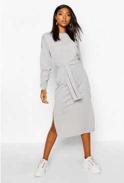 Womens Grey Tall Rib Belted T-Shirt Dress