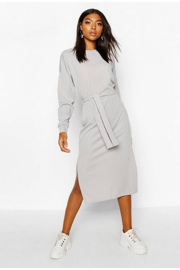 Grey Tall Rib Belted T-Shirt Dress