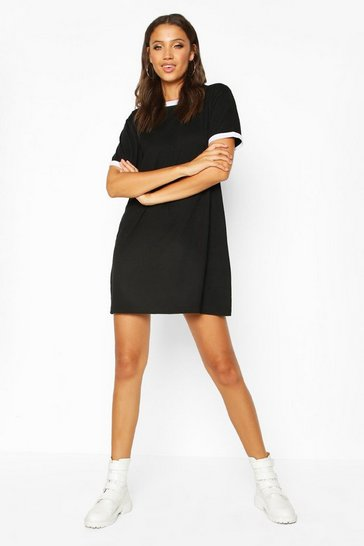 Womens Black Tall Ringer T-Shirt Dress