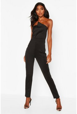 Womens Black Tall Bandeau Wrap Detail Jumpsuit