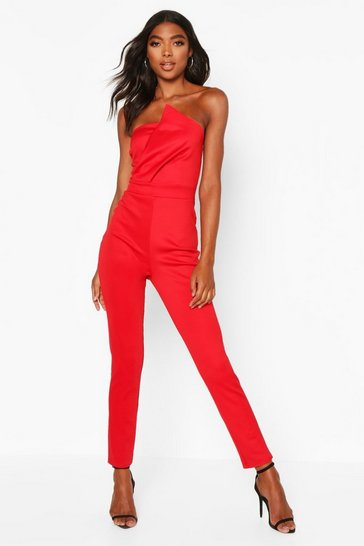 Red Tall Bandeau Wrap Detail Jumpsuit