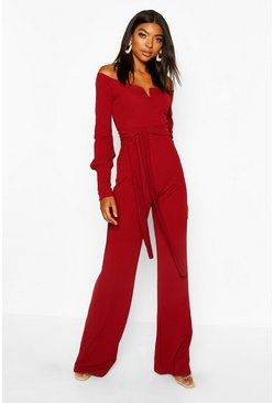 Dam Berry Tall - Jumpsuit i off shoulder-modell