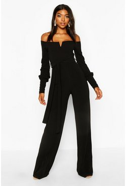 Womens Black Tall Off The Shoulder Jumpsuit