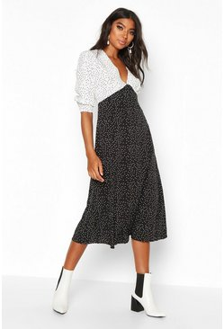 Womens Black Tall Contrast Polka Dot Midi Dress