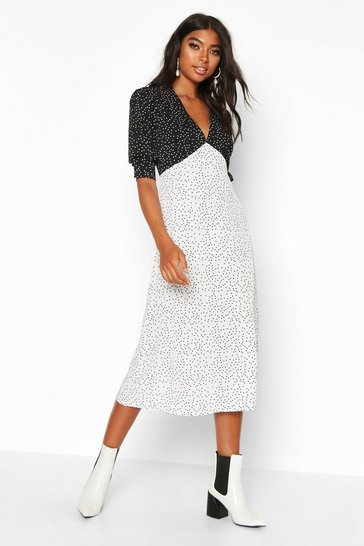 White Tall Contrast Polka Dot Midi Dress