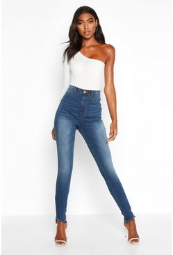 Mid blue Tall Distressed Hem Jeggings