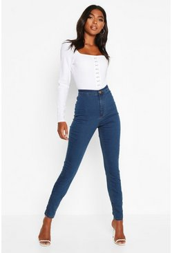 Womens Blue Tall Denim Jeggings