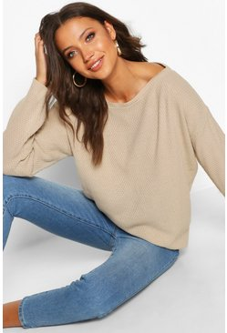 Stone Tall Pearl Knit Slash Neck Jumper