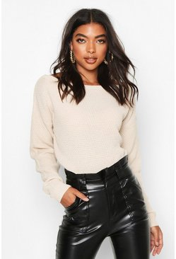 Ecru Tall Slash Neck Pearl Knit Crop Jumper