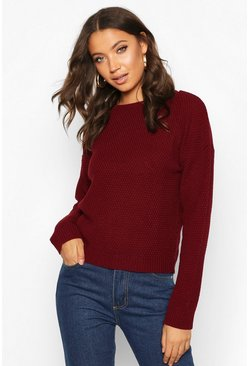 Berry Tall Crew Neck Pearl Knit Crop Jumper