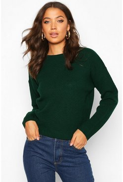 Womens Bottle Tall Crew Neck Pearl Knit Crop Jumper