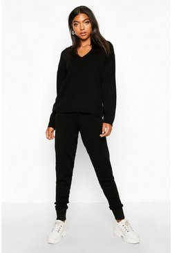 Womens Black Tall Knitted Hoody & Joggers Tracksuit
