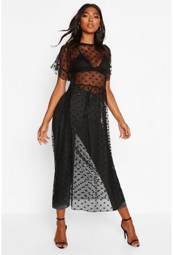 Womens Black Tall Dobby Mesh Midi Dress