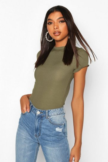 Khaki Tall High Neck Frill Hem Rib Bodysuit