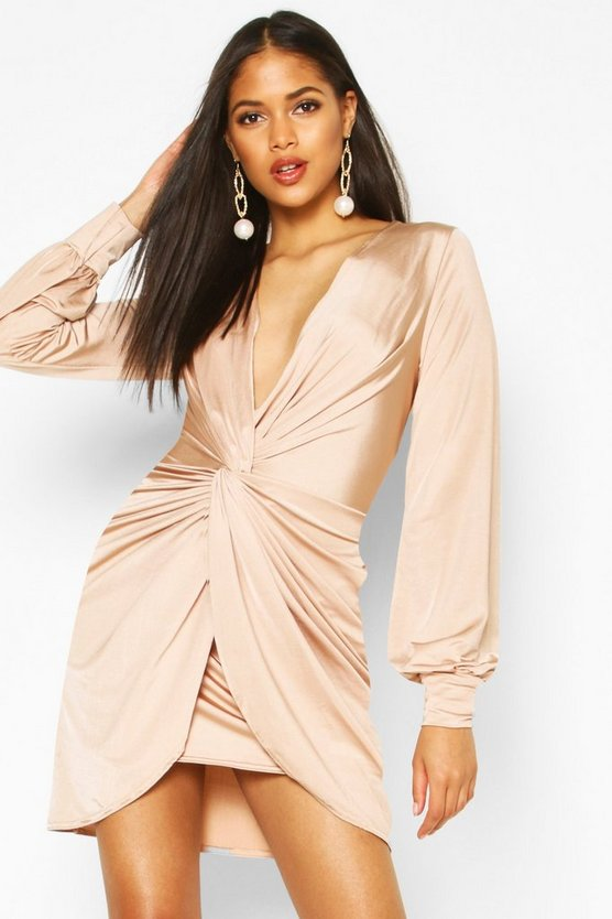 Tall Wrap Front Slinky Dress