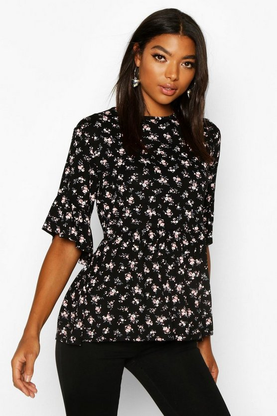 Womens Black Tall Ditsy Floral Smock Top