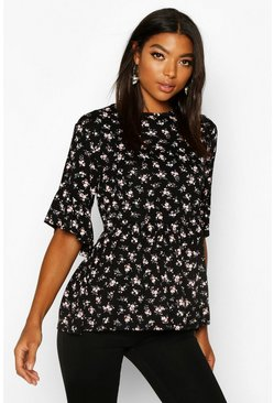 Black Tall Ditsy Floral Smock Top