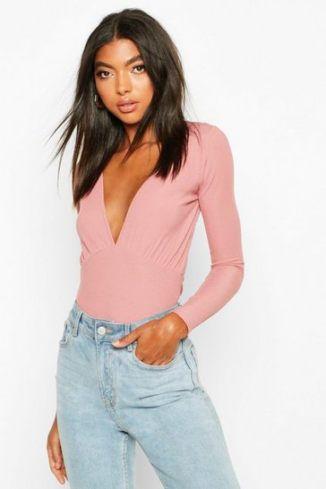 Womens Rose Tall Bust Detail Long Sleeve Body