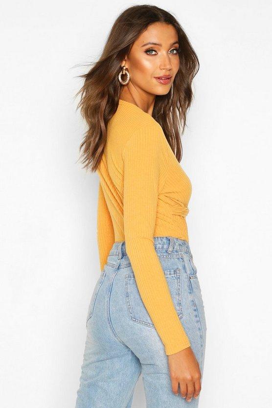 Tall Twist Front Rib Knit Bodysuit