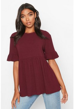 Dam Berry Tall Rib Smock Top
