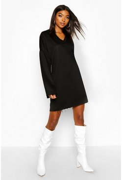 Womens Black Tall Raw Edge Sweat Dress