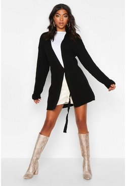 Womens Black Tall Tie Front Cardigan