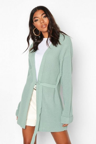 Womens Sage Tall Tie Front Cardigan