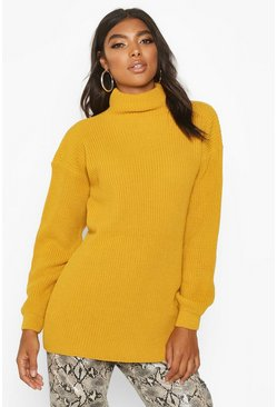 Mustard Tall Funnel Neck Knitted Jumper