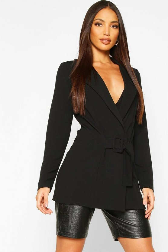 Black Tall Self Fabric Belted Blazer