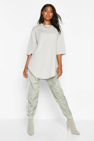 Womens Sage Tall Curve Hem Oversized T-Shirt
