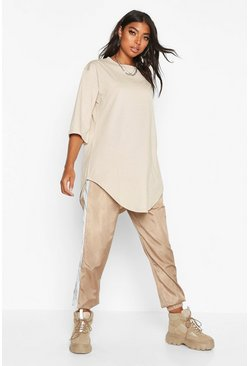 Stone Tall Curve Hem Oversized T-Shirt