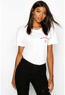 White Tall 'Heartbreaker' Slogan T-Shirt