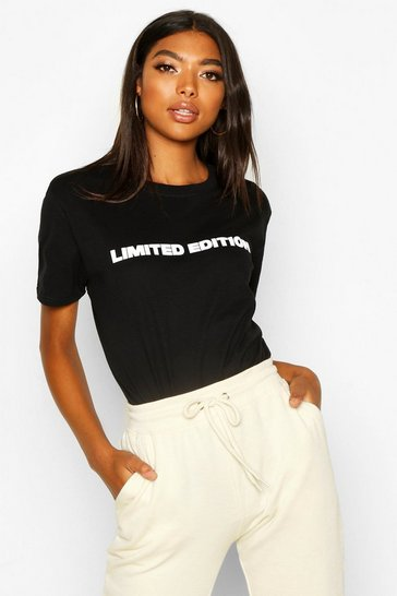 Womens Black Tall 'Limited Edition' Slogan T-Shirt