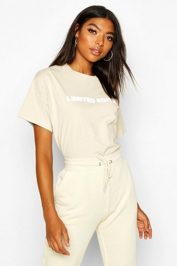 Womens Sand Tall 'Limited Edition' Slogan T-Shirt