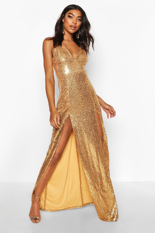 70s Sequin Dresses, Disco Dresses Womens Tall Plunge Sequin Maxi Dress - Gold - 12 $36.00 AT vintagedancer.com