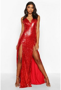 Womens Red Tall Plunge Sequin Maxi Dress