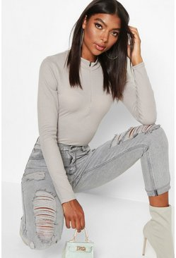 Grey Tall High Neck Zip Front Bodysuit