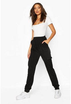 Womens Black Tall Cargo Joggers