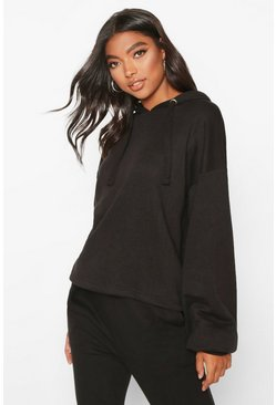 Womens Black Tall Crop Oversized Hoody