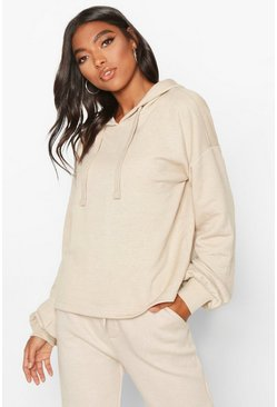 Ecru Tall Crop Oversized Hoody