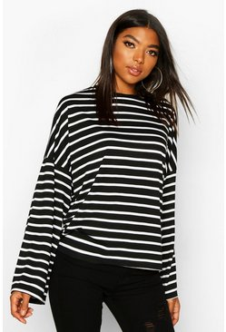 Black Tall Stripe Flared Sleeve Top