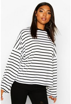 Womens White Tall Cotton Stripe Flared Sleeve Top