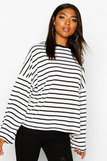 White Tall Stripe Flared Sleeve Top