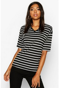 Black Tall Stripe V-Neck T-Shirt