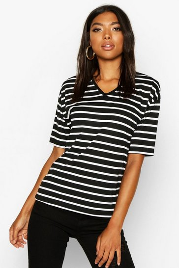 Womens Black Tall Stripe Cotton V-Neck T-Shirt