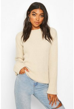Womens Stone Tall Drop Shoulder Chunky Jumper