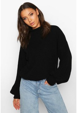 Black Tall Chunky Funnel Neck Jumper