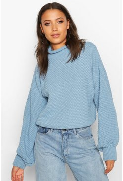 Dusty blue Tall Chunky Funnel Neck Jumper